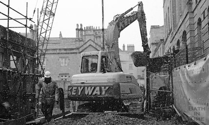 Working in a snowstorm at the Thermae Bath Spa development, 20 March 2001