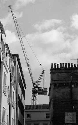 View of the tower crane at the Thermae Bath Spa development, 4 April 2001