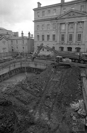 Excavating to the basement level at the Thermae Bath Spa development, 4 April 2001