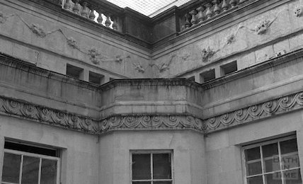 The unrestored stone swags above the Hot Bath at the Thermae Bath Spa development, 4 April 2001