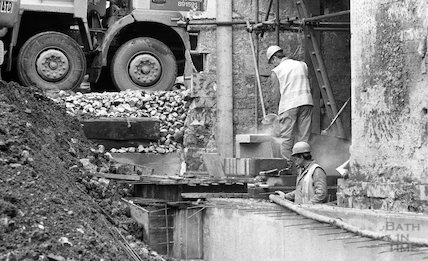 Workmen cutting stone on the site of the Thermae Bath Spa development, 4 April 2001
