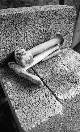 A stone mason's tools at the site of the Thermae Bath Spa development, 4 April 2001