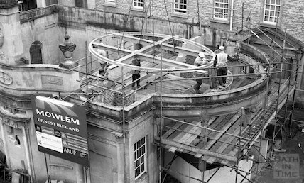 Fitting the roof to the Cross Bath's roof, Bath 4 May 2001