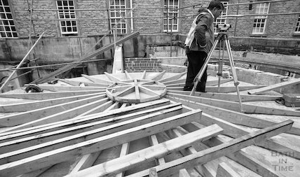 Fitting the roof to the Cross Bath, 3 May 2001