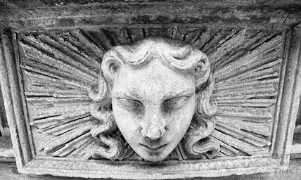 Detail of a stone carving outside the Cross Bath, 3 May 2001