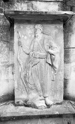 Stone carving of Prince Bladud inside the Cross Bath, 3 May 2001