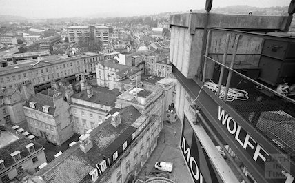 View from a tower crane towards Westgate Buildings and down on St John's Hospital, 11 May 2001