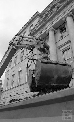 Digger removing earth from the site of Thermae Bath Spa, 18 May 2001