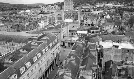 Looking up Bath Street over the rooftops towards the Abbey