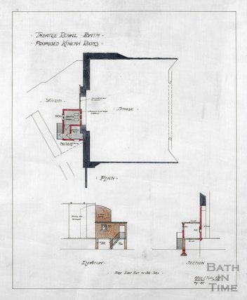 Theatre Royal proposed Kinema rooms - plan, elevation & section - AJ Taylor May 1917
