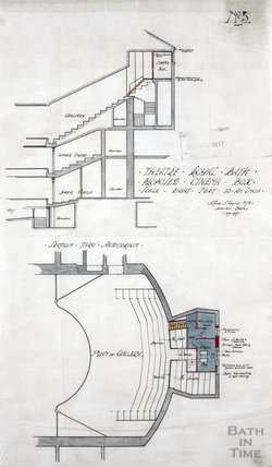 Theatre Royal proposed cinema box - plan & section through auditorium - no.5 - AJ Taylor July 1917