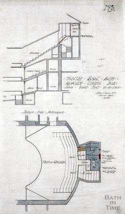 Theatre Royal proposed cinema box - plan & section through auditorium - no.5 - AJ Taylor July 1917