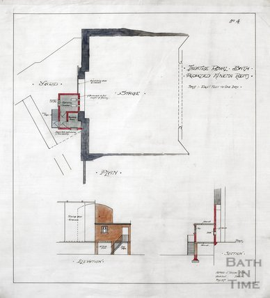Theatre Royal proposed Kinema rooms - plan, elevation & section - no.4 - AJ Taylor May 1917