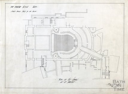 Theatre Royal proposed alterations - plan at pit level as at present - AJ Taylor May 1914