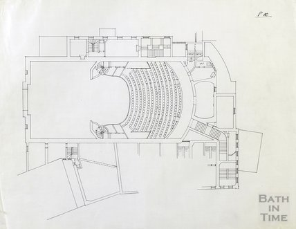 Theatre Royal proposed alterations - Old Upper Dress Circle level - no.60 - AJ Taylor May 1914