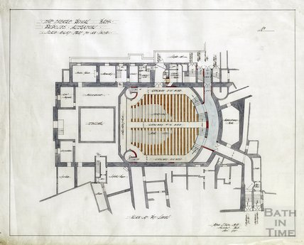 Theatre Royal proposed alterations - plan at pit level - AJ Taylor April 1914