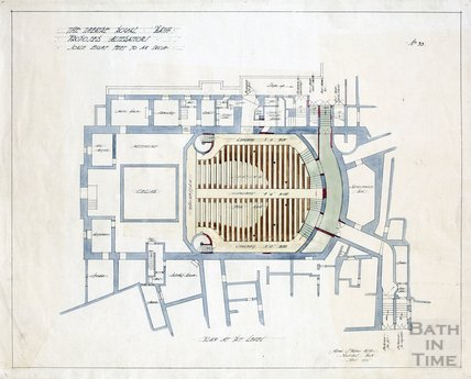 Theatre Royal proposed alterations - plan at pit level - no.33 - AJ Taylor April 1914