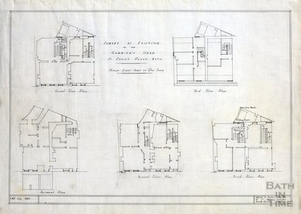 Survey as existing of the Garrick's Head, St John's Place - plan of 5 floors - AJ Taylor July 1935