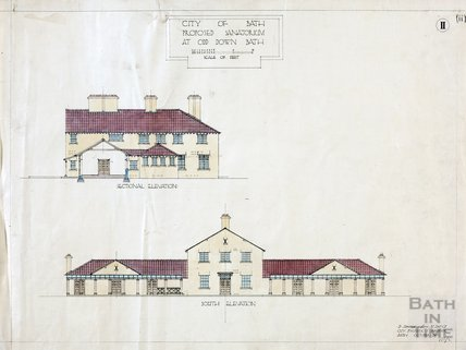 Proposed sanatorium at Odd Down - section & south elevations - no.2 - D. Edwards October 1920