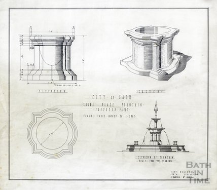 Laura Place Fountain - proposed vases - elevations & sketch plan - 418/2 -, City Engineer February 1931