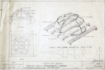 Terrace Walk improvement scheme - pay box roof - isometric sketch in section & plan - 379/29 -, City Engineer c.1930s?