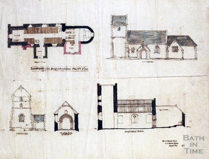 Design for restoration - elevations, sections, plans - John D Sedding, St. Mary Magdalene Church, Langridge 1886