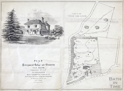 Plan of Perrymead Lodge and grounds - sale by auction - ground plan & sketch of house June 1847