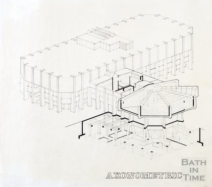Proposed Library building for Podium site, Northgate Street - axonometric view, ?mid 1980s
