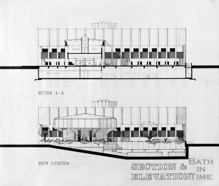 Proposed Library building for Podium site, Northgate Street - section and south elevation, ?mid 1980s