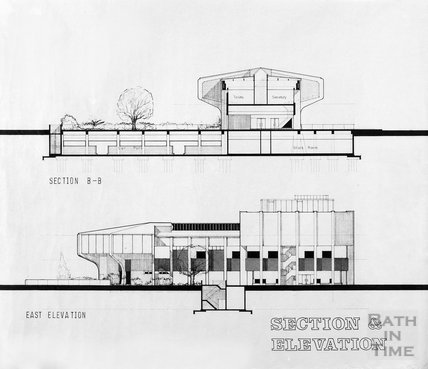 Proposed Library building for Podium site, Northgate Street - section and east elevation, ?mid 1980s