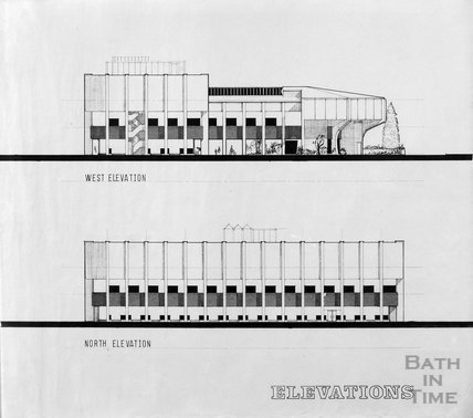 Proposed Library building for Podium site, Northgate Street - west and north elevations, ?mid 1980s