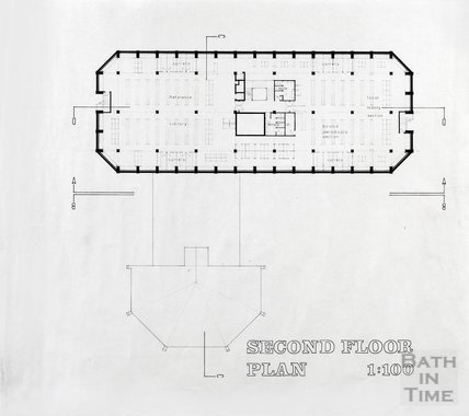 Proposed Library building for Podium site, Northgate Street - second floor plan, ?mid 1980s