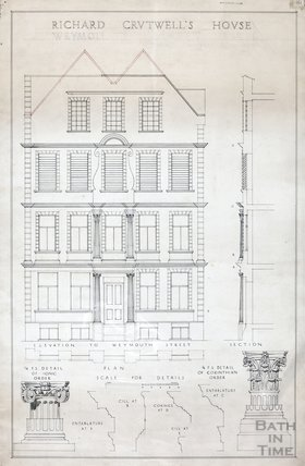 Richard Cruttwell's House, Weymouth Street, Norland Nannies - plan, section, elevation c.1920s?