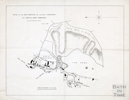 Site of the old castle and adjacent grounds at Castle Cary, Somerset July 1857