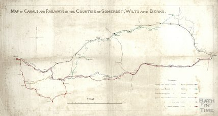 Map of canals and railways in the counties of Somerset, Wilts and Berks - surveyors J W Trew & Sons 1877