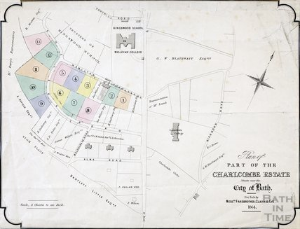Plan of part of the Charlcombe estate for sale by Messrs. Fareberother, Clark & Lye 1864