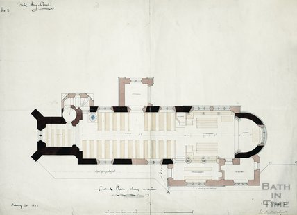 Combe Hay church, ground plan showing additions - Charles E Davis - plan no.2 Feb 1873
