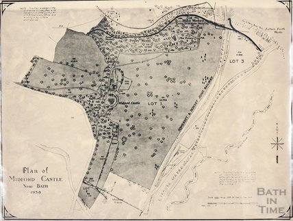 Plan of Midford Castle, including grounds, 1938