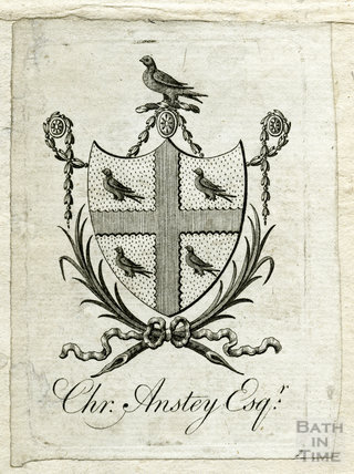 Christopher Anstey's bookplate, 1766