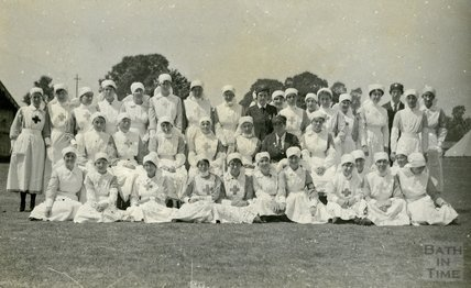 Group photo of nursing staff, Bath War Hospital, Combe Park, Bath c.1916