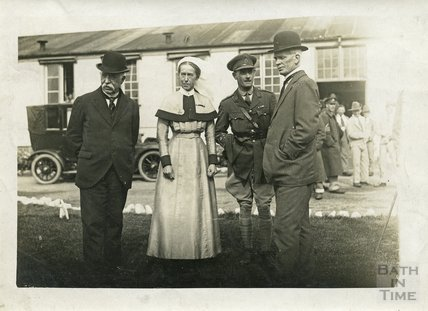The Matron and visiting dignitaries, Bath War Hospital, Combe Park, Bath c.1916