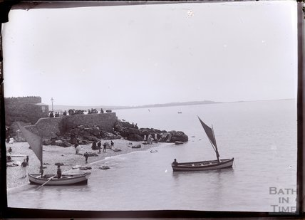 Men in bowler hats messing around with sailing boats, Weston Super Mare, c.1902