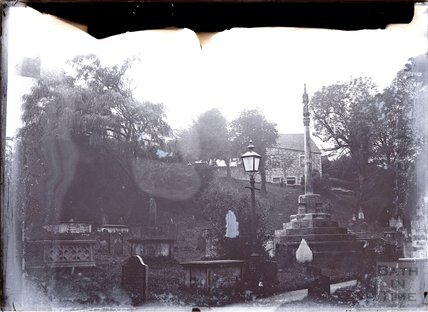 The graveyard at Llandaff cathedral, near Cardiff c.1902