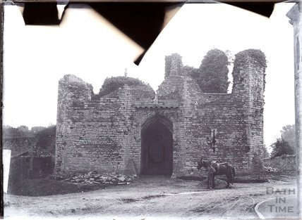 Llandaff cathedral, near Cardiff ruined gateway with a man an horse in the foreground, c.1902