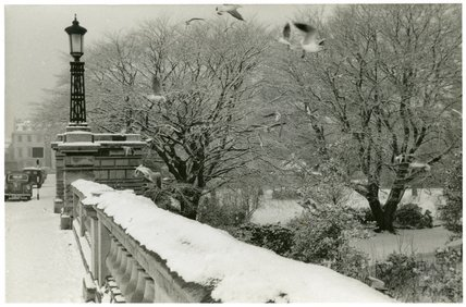 A snowy view of North Parade Bridge, 1953-55