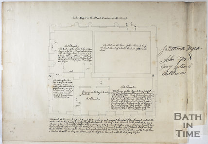 Plan and room specification for the first floor of Titan Barrow, Bathford, c.1748