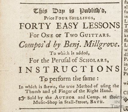 Publication of forty easy lessons for one or two guitars, 16th December 1762