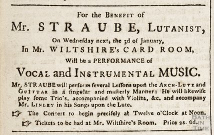 For the benefit of Mr Straube, Lutanist, 1st January 1759