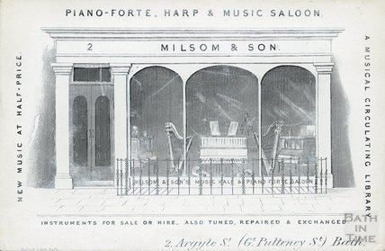 Milsom & Son Trade Card, 2 Argyle Street, Bath, c.1850