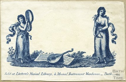 Lintern's Musical Library & Musical Instrument Warehouse Trade Card, Bath, c.1807